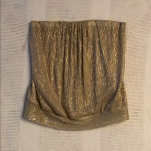 Lane Bryant Shimmery Gold Banded Tube Top